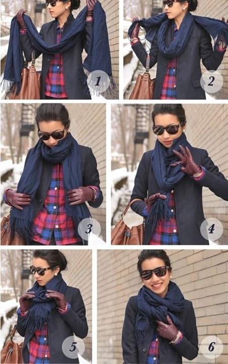 layered scarf knot