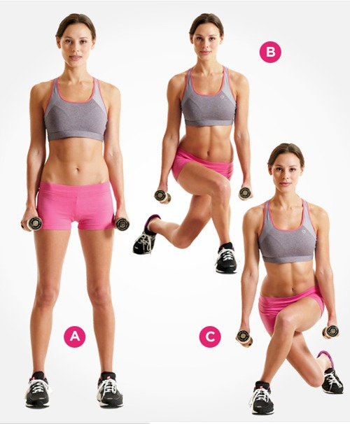 cross-behind-lunges - abs exercises for women