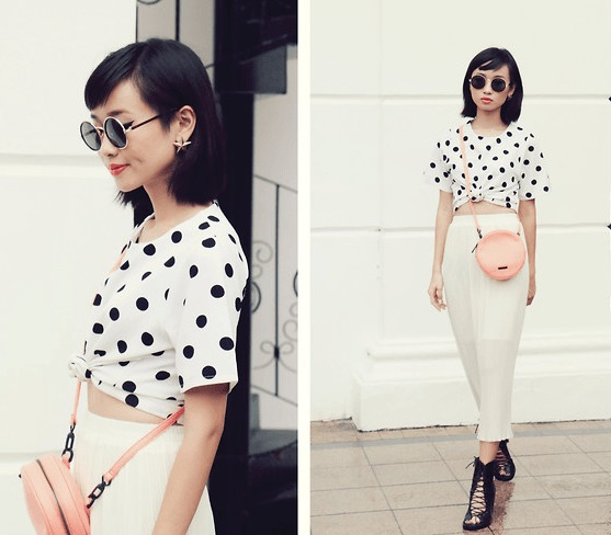 Polka Top with Midi Skirt