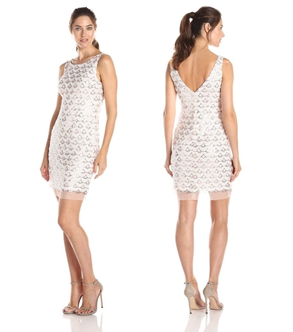 White pink Soutache Sequin Dress