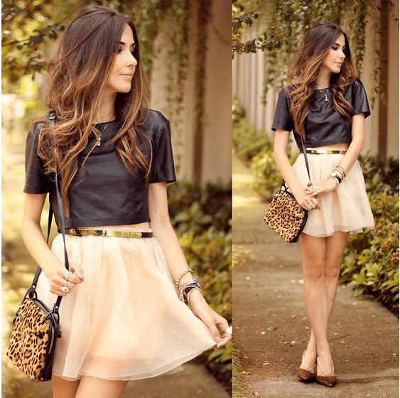 Circle skirt with crop top outfits