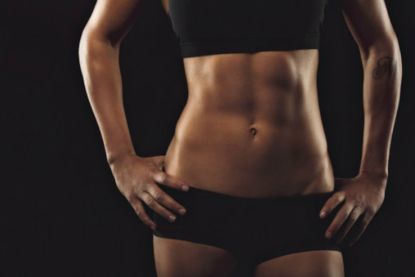 women toned flat stomach abs